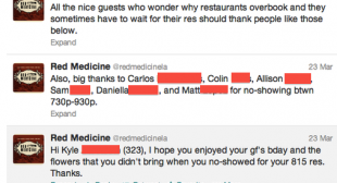 Restaurant Uses Twitter To Shame People Who Blew Off Reservations